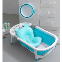 folding baby bath tub bak mandi bayi lipat + cushion - Biru Muda