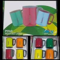 Gelas Polo 4Pcs Mug Set 4 Pcs 220 ml Gelas Stainless Dubblin DBN-1815