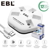 EBL Li-Ion Battery 9V 2 Pack With I-Quick 5 Slot Charger Rechargeable