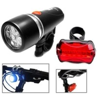 Lampu Sepeda LED 1 Set Depan Belakang Senter 5 LED Power Beam