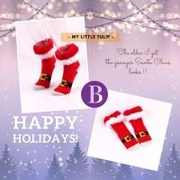 Kaos Kaki Natal Merah / Kaoskaki Bulu2 Santa Claus Red Socks Lucu Bulu