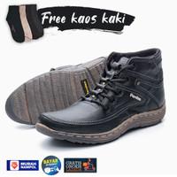 Sepatu Boots Pria Kulit Asli Murah Free Kaos Kaki BKS01 – Hitam
