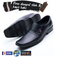 Sepatu Pantofel Pria Free Dompet Stnk Lipat 2 dan Kaos Kaki 008 Hitam