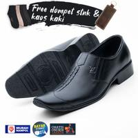 Sepatu Pantofel Pria Kulit Free Dompet Stnk Lipat 2 dan Kaos Kaki 9014