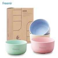 Freemir Mangkok Wheat Straw/Mangkuk Makan Bowl Set 4pcs warna warni