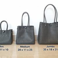 Kaela Bag Size XS (Black) - Tas Anyam Plastik, Tas Hampers, Handbag
