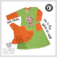 7 8 tahun baju gamis kaos set anak perempuan paddle kids abu-abu