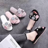 Sandal Rumah / Sandal Couple Import Empuk Hangat Lucu Korean Style 5 - Grey, 41-42