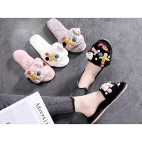Sandal Rumah / Sandal Couple Import Empuk Hangat Lucu Korean Style 6 - Black, 35-36