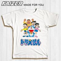 KAIZER TD-0304 Kaos Generasi 90an Klasik Doraemon Nobita Logo - Anime - Putih, S