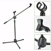 Stand Microphone + Mic Holder / Stand Mic Lantai Tripod Condenser
