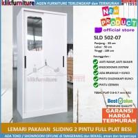 Lemari Pakaian Besi 2 Pintu SLIDING FULL PLAT BESI 004