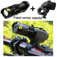 Lampu sepeda senter + holder waterproof ipx 2000lumes + USB CHARGER