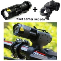 Lampu sepeda senter+holder waterproof ipx 2000lumes