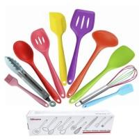 Rainbow Silicone Kitchen Utensil 10 in 1 Set Spatula Dapur BPA Free