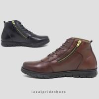 Sepatu Boots Zipper Sleting Pria Kulit Asli Original Aloof Care Zip