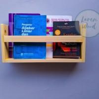 rak dinding buku/majalah kayu jati belanda - Natural