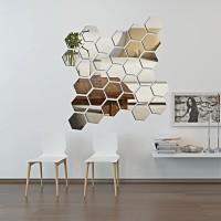 Hiasan Dinding Wall Sticker Kaca Bentuk Hexagonal