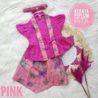kebaya anak baju batik anak perempuan batik bayi pink peplum