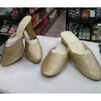 sandal selop pengantin pria dan wanita gold emas silver cantik