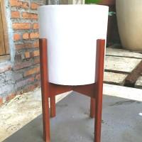 Pot Beton Putih Standing Kayu