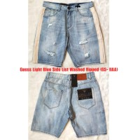 Celana Pendek Jeans Guess Light Blue Washed Ripped Side List