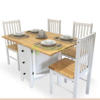 Meja Makan Lipat Milna - Meja dan 4 kurs