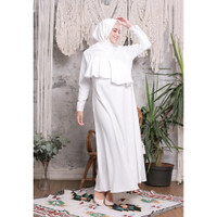 Hijab Ellysha EMILY EXCLUSIVE TILE RUFFLE DRESS WHITE