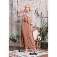 Hijab Ellysha EMILY EXCLUSIVE TILE RUFFLE DRESS BROWN