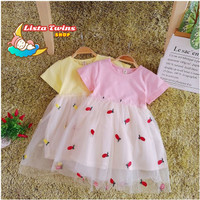 DRESS ANAK PEREMPUAN TUTU LACE NANAS IMPORT 1-4 TH - Merah Muda, S