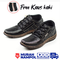 Sepatu Boots Pria Kulit Asli Murah Free Kaos Kaki BKS04 – Hitam