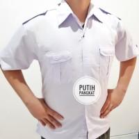 Baju pdh seragam kemeja security satpam kerja putih atas hight quality - Putih, M