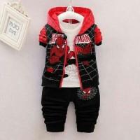 Setelan Spiderman 3in1 Kids/set celana rompi anak laki/baju anak cowo