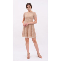 CHIC SIMPLE PEARL TRIMMED CAMELIA DRESS