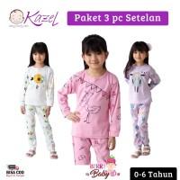 Kazel Set 3 pc Setelan Piyama Bayi Anak Perempuan Bird 0-6Tahun KZL008