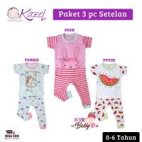 Kazel Set 3 pc Setelan Piyama Bayi Anak Bunny 0-6 Tahun KZL007