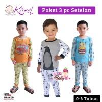 Kazel Set 3 pc Setelan Piyama Bayi Anak Laki Laki Owl 0-6 Tahun KZL009