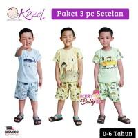 Kazel Set 3 Pc Setelan Piyama Pendek Indian Bayi Anak 0-6 Tahun KZL004