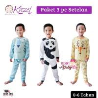 Kazel Set 3 Pc Setelan Piyama Panjang Bayi Anak Lion 0-6 Tahun KZL005