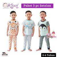 Kazel Set 3 pc Setelan Piyama Bayi Anak London 0-6 Tahun KZL006