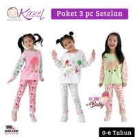 Kazel Set 3pc Setelan Piyama Bayi Anak Perempuan Sunny 0-6Tahun KZL010