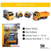 Mainan Anak Contruction Truck Set 4 pcs | Miniatur Mobil Alat Berat
