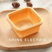 Tray plastik kotak tempat alas kue bulan mooncake moon cake gold 6,5cm