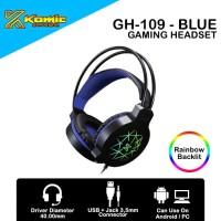Headset Gaming Komic GH-109 - Mobile / PC Headset RGB - Blue