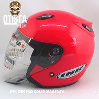 Helm Half Face Ink Centro Solid Pink Magenta Polos Gloss Glossy - L