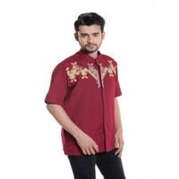 Baju Koko Lengan pendek Bordir 3D Kualitas Premium TN 909 Merah