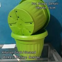 Jual pot bunga plastik denali warna hijau uk 35 cm kode 1050