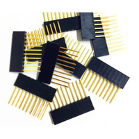 Stackable Header Female Gold plated 10p 10 pin 15mm for arduino 2.54mm