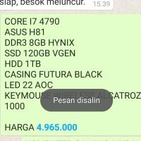 CORE I7 4790 ASUS H81 DDR3 8GB HYNIX SSD 120GB VGEN HDD 1TB CASING FUT