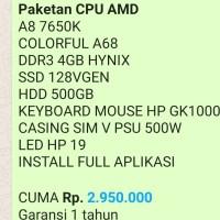 *Paketan CPU AMD* A8 7650K COLORFUL A68 DDR3 4GB HYNIX SSD 128VGEN HDD